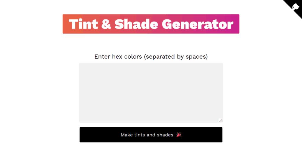 Screenshot of the Tint & Shade Generator